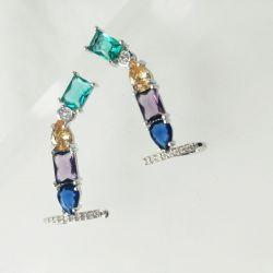 Brinco Ear cuff pedras cristais coloridos cravejados