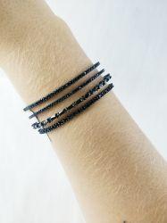 Bracelete Rodio Negro Com Zirconias Cravejada