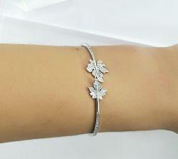 Bracelete Folha  banho de rodio  zirconias  cravejadas