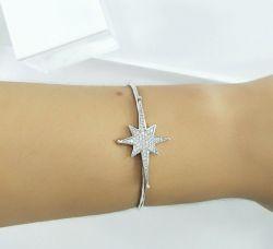 Bracelete estrela pequena zirconias cravejadas banho de rodio