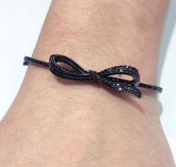Bracelete laço  com banho de rodio negro micro zirconias cravejadas