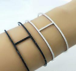 Bracelete  vazado fino com zirconias cravejadas