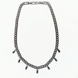 Choker luxo de  elos ródio negro com pingentes em pedra zirconia negra