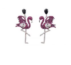 Brinco flamingo micro zirconias cravejadas