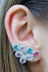 Brinco ear cuff asa cristais coloridos micro zirconia cravejada