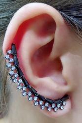 Brinco Ear cuff pedra micro zircônia cravejada.