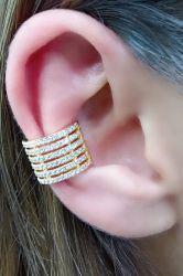Ear clip  grosso 6 tiras de zirconia vazada