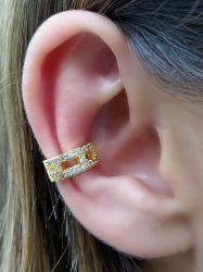 Brinco ear clip vazado com micro zirconia cravejada