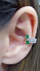 Ear clip micro zirconia cravejada e detalhe em cristal