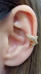 Ear clip tubarão todo em micro zirconia cravejada