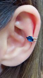 Ear clip gota em cristal banho de rodio