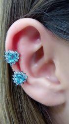 Ear clip duplo corações em cristal ao redor zirconia cravejada