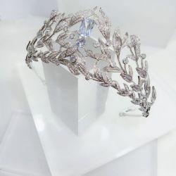 Coroa  ramos em micro zirconia cravejada pedra central cristal