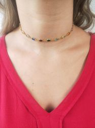 Choker cristais coloridos