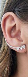 Ear cuff  todo em micro zirconia cravejada banho de rodio