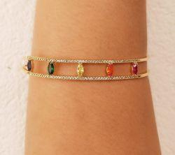Bracelete cristais coloridos micro zirconia cravejada
