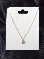 Colar de prata 925 banho de ouro  estrela em micro zirconia cravejada  45cm