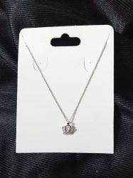 Colar de prata 925 coroa em micro zirconia cravejada  45cm