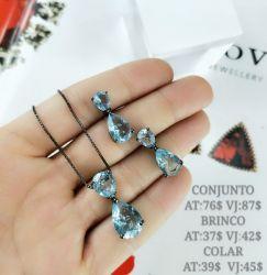 Conjunto colar e brinco duas gotas em cristais cravejados