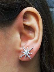 Brinco Ear jacket estrela com pérola de água doce