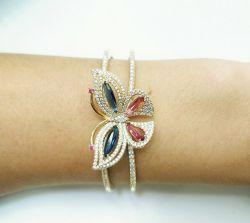 Bracelete borboleta  rosa e azul zirconia cravejada