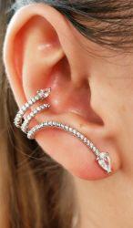 Brinco ear cuff micro zirconias cravejada