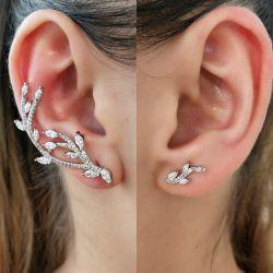 Brinco ear cuff um lado diferente do outro zirconia cravejada