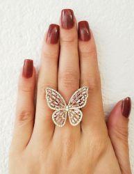 Anel borboleta zirconia cravejada rosa