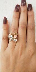 Anel borboleta rosa com zirconia cravejada