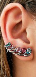 Brinco ear cuff zirconias coloridas e detalhe em micro zirconia transparente