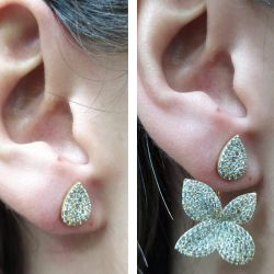 Brinco Ear jacket = 2 em 1 pedras cravejadas micro zircônias transparente.