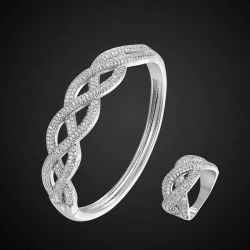Conjunto bracelete e anel em elos pedra micro zirconias  transparente cravejadas