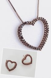 Conjunto colar e brinco coração chocolate  vazado ao redor micro zircônia cravejada
