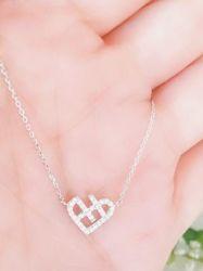Colar coração vazado prata925 micro zircônia transparente cravejada