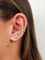 Brinco Ear cuff  lua com uma estrela todo cravejado em micro zirconias transparante somente de um lado da orelha