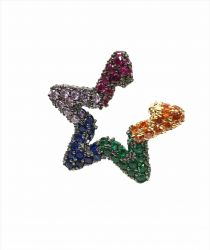 Ear clip = Piercing fake formato estrela  pedras zircônias coloridas cravejadas.