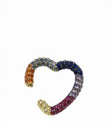 Ear clip = Piercing fake formato coração pedras zircônias coloridas cravejadas.