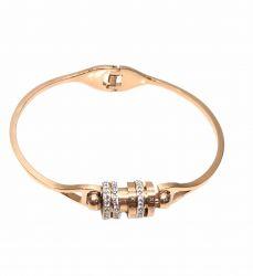 Bracelete algarismos romanos rosê gold pedra zircônia transparente cravejada.