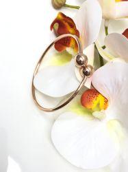 Bracelete 2 bolinhas  rosê gold em aço sem pedras.