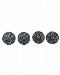 Brinco redondo pedra cristal central formato estrela ao redor micro zircônias transparente cravejada.