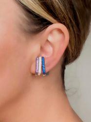 Ear clip = Piercing fake folheado a ouro pedras micro zircônias cravejadas.