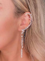 Brinco luxo Ear cuff todo em pedras zircônias transparente cravejadas.