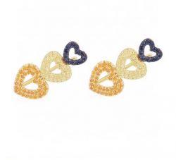Brinco ear cuff 3 corações vazados pedras micro zircônias cravejadas