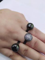 Anel 3 em 1 ródio negro pedras cravejadas micro zircônias transparente