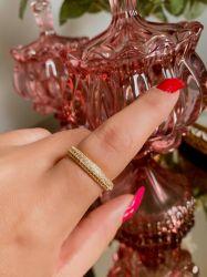 Anel aparador de aliança folheado a ouro pedras micro zircônias transparente cravejadas
