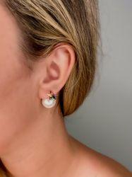 Brinco ear jacket =  2 em 1 estrela pedras micro zircônias coloridas pérola branca folheado a ouro
