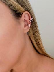 Ear clip = Piercing fake vazado 3 tiras lisa