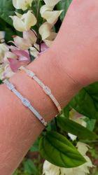 Bracelete pedras cravejadas micro zircônias transparente fecho gaveta