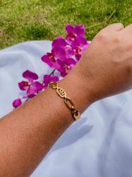 Bracelete elos vazado banhado a ouro 18k