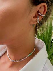 Ear clip = Piercing fake argolinha pedras micro zircônias coloridas cravejadas detalhe 2 unidades na cartela